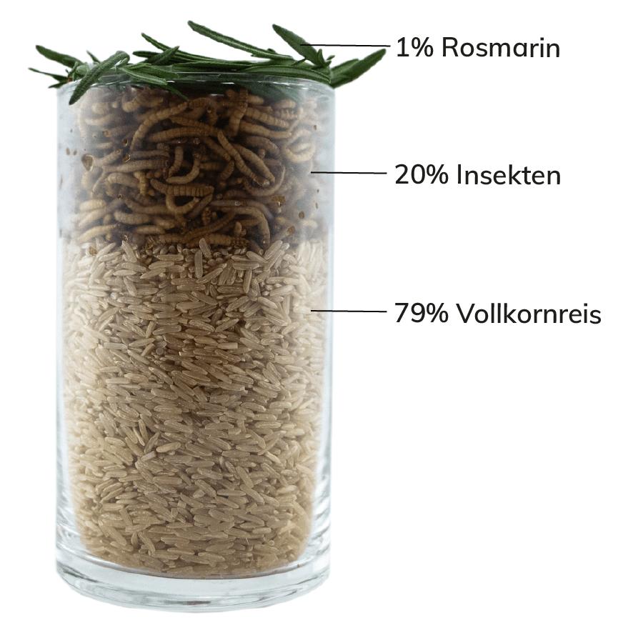 TENETRIO Hundeleckerlis mit Insekten HUNDEPOPS mit Reis Rosmarin Zutaten